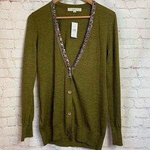 The Loft Green Sequin Cardigan Size M
